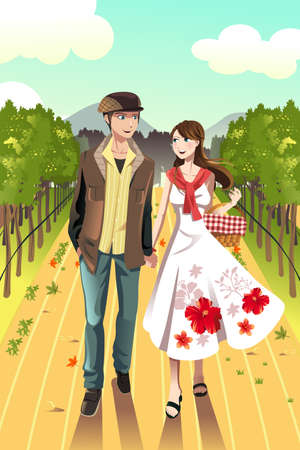 A vector illustration of a young couple walking in a winery