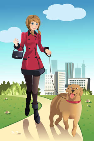A vector illustration of a woman walking her dog in a park