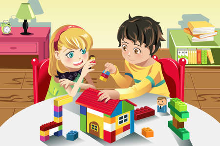 block: A vector illustration of kids playing with their toys