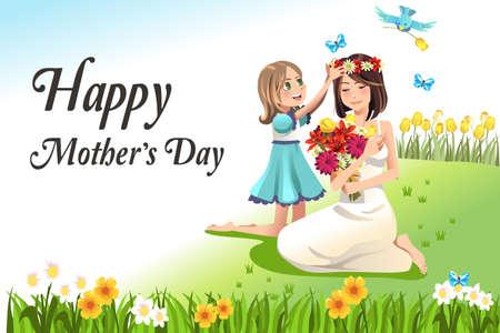 mum and daughter: Una illustrazione vettoriale di madri felice carta di giorno Vettoriali