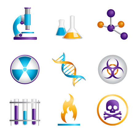 A vector illustration of a set of science icons