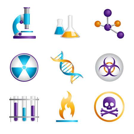 Een vector illustratie van een reeks van de wetenschap iconen Stock Illustratie