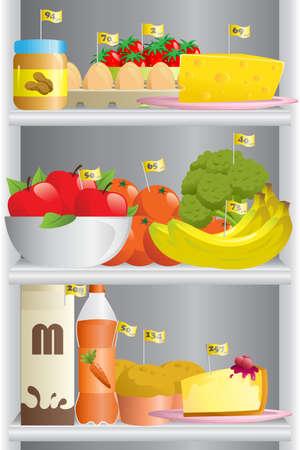 Een vector illustratie van verschillende levensmiddelen in een koelkast met de calorietellingen