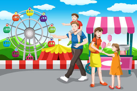 amusement park rides: A vector illustration of a happy family recreation in the amusement park