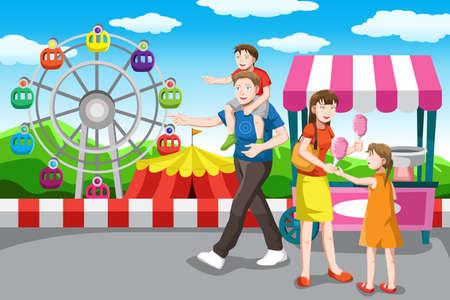 algodon de azucar: Una ilustración vectorial de una recreación de la familia feliz en el parque de atracciones Vectores