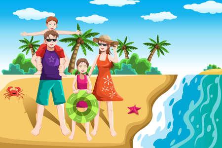 Een vector illustratie van een gelukkige familie die naar het strand voor vakantie