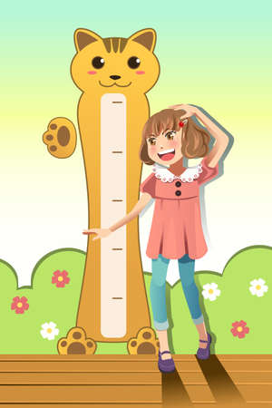 tall and short: A vector illustration of a girl measuring her height with height scale on the wall