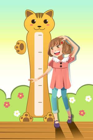 Una ilustración vectorial de una chica que mide su altura con escala de altura en la pared Ilustración de vector