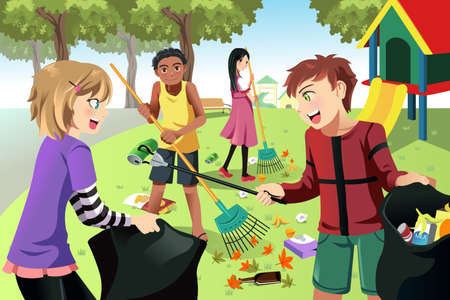 work environment: A vector illustration of kids volunteering by cleaning up the park