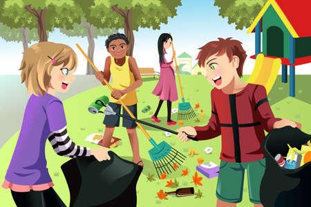 botes de basura: Una ilustración vectorial de los niños de voluntariado por la limpieza del parque