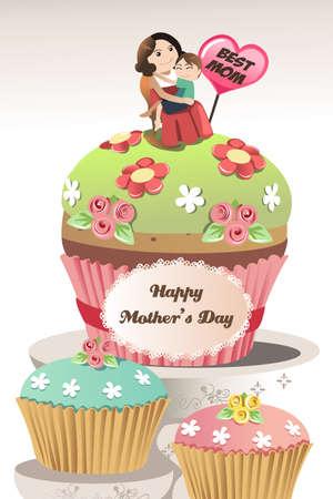 Een vector illustratie van moeders dag wenskaart