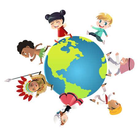 Een vector illustratie van kinderen in verschillende nationaliteiten gekleed in hun traditionele kleding lopen over de hele wereld, kan worden gebruikt voor eenheid of diversiteit begrip