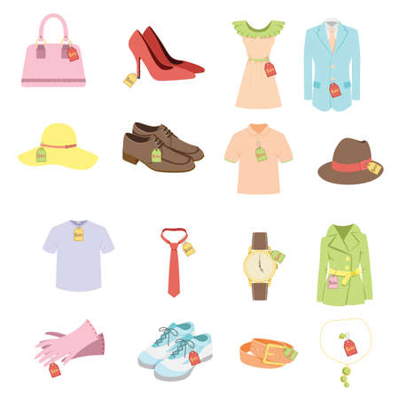 A vector illustration of different apparel product with sale tags Vettoriali