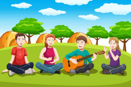 A  illustration of teens playing music in the park Çizim