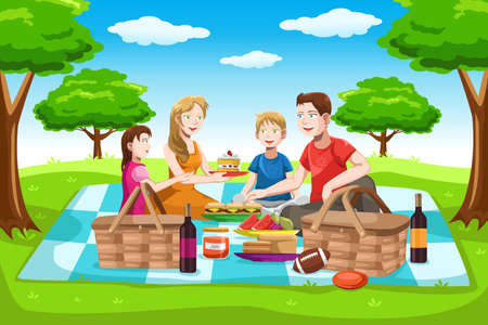 family vacations: A illustration of a happy family having a picnic in the park