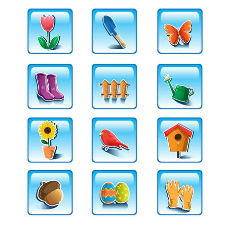 A illustration of colorful spring gardening icon sets  Stock Vector - 17991777