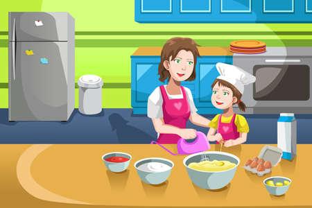 cocina caricatura: Una ilustración de la madre y su hija para hornear en la cocina Vectores