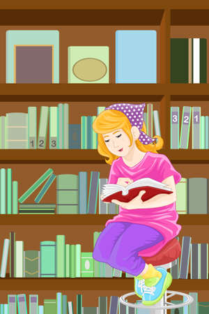 college students campus: A  illustration of a girl studying in the library