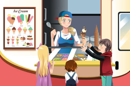ice cream scoop: A illustration of kids buying ice cream at an ice cream truck Illustration