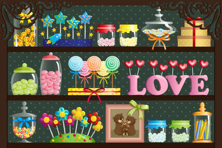 A illustration of a colorful candy at candy shop