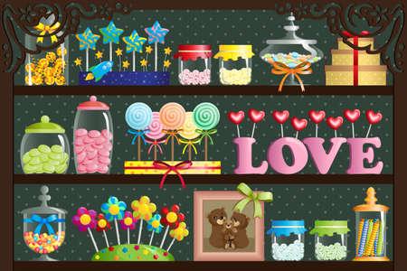 Una ilustración de un caramelo colorido en la tienda de dulces