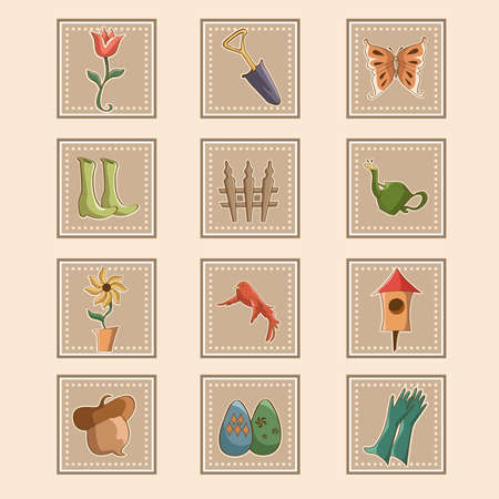 A vector illustration of spring gardening icon sets