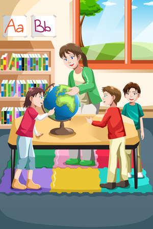 geografia: Una ilustración vectorial de maestra de kindergarten y estudiantes que buscan en un mundo en el aula