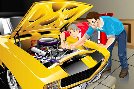 repair men: A vector illustration of a father and son working together on car in their garage