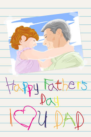 A vector illustration of fathers day greeting card Vector