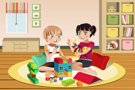 A vector illustration of happy kids playing toys together