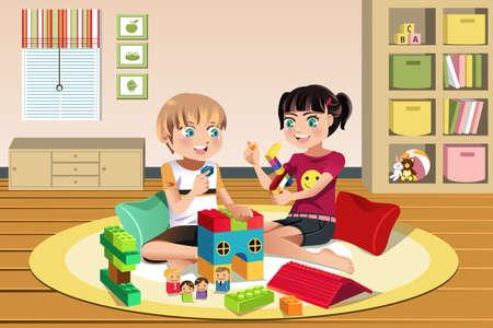 Una ilustración vectorial de niños felices jugando juntos juguetes Ilustración de vector