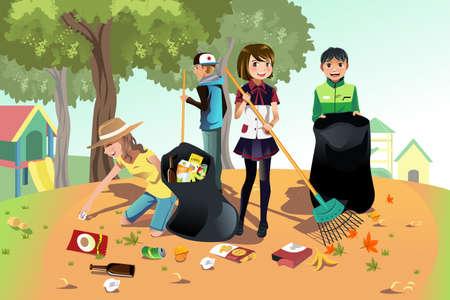 Een vector illustratie van kinderen vrijwilligerswerk door het schoonmaken van het park