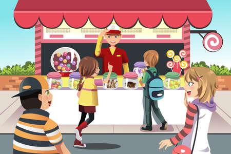 아이들이 사탕 가게에서 사탕을 구입의 벡터 일러스트 일러스트