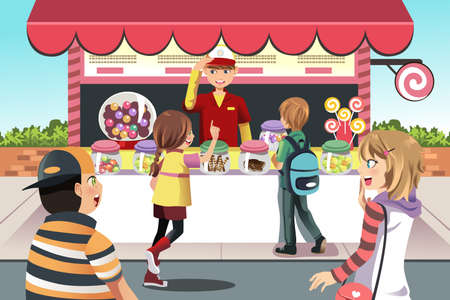 A vector illustration of kids buying candy at a candy shop Vettoriali