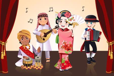 ethnics: Una illustrazione vettoriale di ragazzi provenienti da diverse etnie esibendosi in una fase
