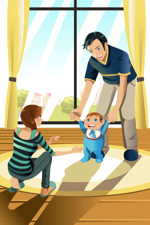 A vector illustration of parents helping their baby boy learning to walk Vectores