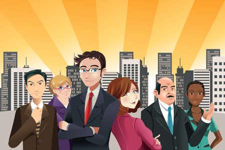 Una illustrazione vettoriale di un gruppo di uomini d'affari fiducioso con edifici della città sullo sfondo