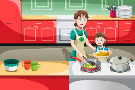 fry: A vector illustration of mother and her daughter cooking in the kitchen
