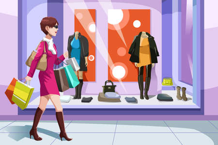 A vector illustration of beautiful girl with shopping bags