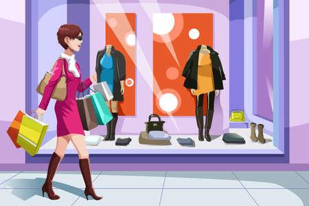 centro comercial: Una ilustraci�n vectorial de la hermosa chica con bolsas de la compra