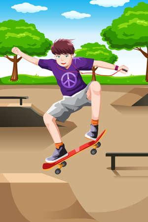actief luisteren: Een vector illustratie van een gelukkige jongen speelt skateboard tijdens het luisteren een muziek-