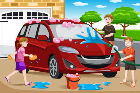 A vector illustration of happy kids helping their father washing car Vector