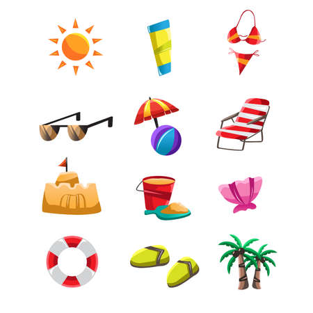 sandal tree: A vector illustration of beach icon sets