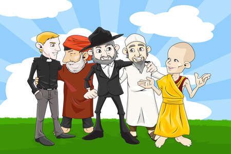 getting together: A vector illustration of people from different religions holding hands together