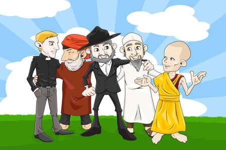 Een vector illustratie van mensen uit verschillende religies hand in hand samen