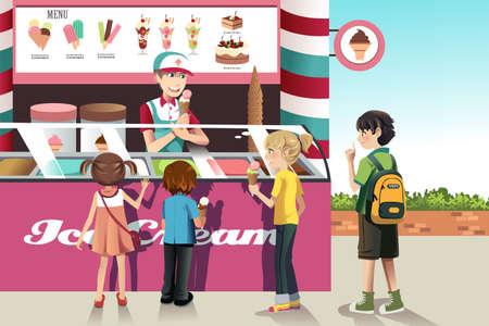 Een vector illustratie van kinderen kopen ijs bij een ijs staan