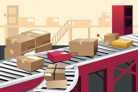 computerized: A vector illustration of automated shipment in a warehouse