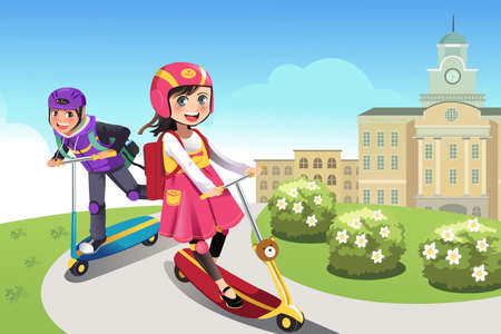 A vector illustration of happy boy and girl riding scooter in the park Illustration