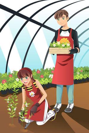 Een vector illustratie van mensen het planten in een kas