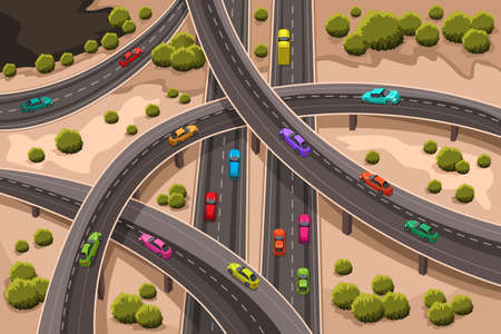 junction: A vector illustration of highway viewed from above Illustration